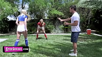 Horny Step Father Teach His Sexy Teen Step Daughters How To Handle Balls But Gets Caught By His Wife