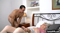 Lusty Grandma Norma B Is Moving Her Stuffs Upstairs So She Got Rob To Help Her Move Them Until She Saw The Buldging Cock That Is Infront For Her