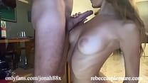 Cute girl on knees gives me a blowjob after the...
