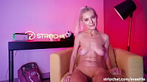 Stripchat teen EvaElfie uses giant vibrator on her tight pussy for multiple orgasms during live stream