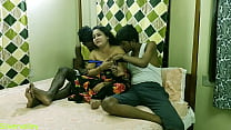 Indian Hot xxx Bhabhi fucking with two brother in law!! Clear dirty talk.. Ohh my god
