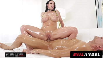 EvilAngel - Angela White Gives Oily Foot Job Before Slippery Titty & Anal Fuck