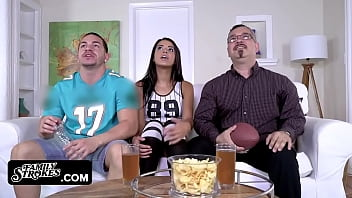 Gorgeous Latina Seduces Her Big Step Brother In Front Of Their Step Dad While Watching The Finals