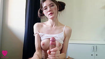 Insatiable hot babe with glasses loves to suck cock and handjob to full throat with hot fresh sperm