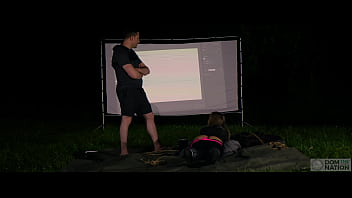 Graphic Anal Submission - submissive anal goddess Rory Knox suffers for her sadistic dominant while making graphic art - a documentary session filmed outside in nature at night