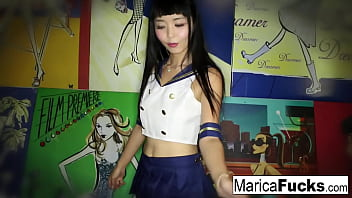 Clip sex Marica strips off her costume and plays with herself
