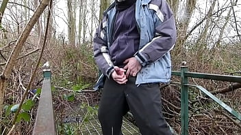 Wet Weather Clothes On For A Nice Wank On A Disused Walkway But Still Risky