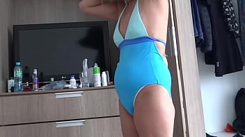 58-year-old hairy mother on vacation at the beach shows off in a bikini in front of her college nephew, after the sea she goes to the apartment to masturbate and fuck, to end up peeing and bathing