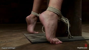 Hairy bound blonde whipped on hogtied