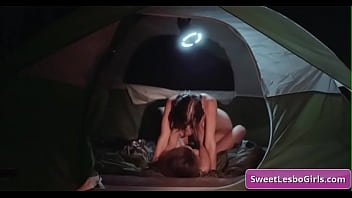 Sexy and horny natural busty lesbian girls Gianna Dior, Shyla Jennings eating pussy and enjoy strong orgasm in their tent while camping at night