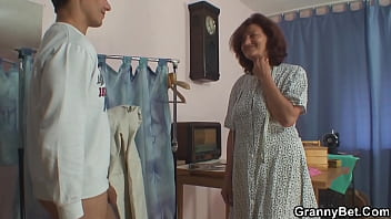 Sewing old grandma enjoys riding young cock