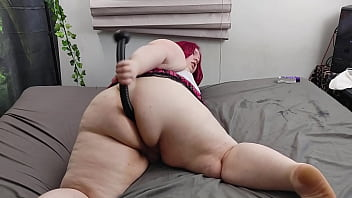 BBW Shemale Pinky Doggystyles Giant Dildo for First Time