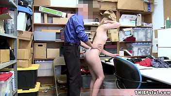 Cute and pretty faced shoplifter Rosalyn gives a blowjob to the older mall cop