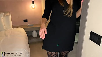 naughty business trip - boss fucks secretary in sexy pantyhose and heels in the hotel room, businessbitch