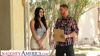 Naughty America - Busty brunette Alyx Star gets tits busted on to avoid HOA fines