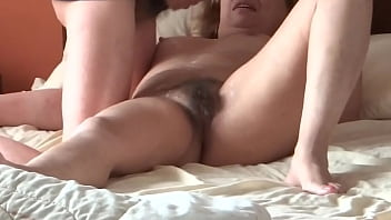 Hidden Cam - Latina mom in her bedroom having sex with her stepson, cock blowjob, handjob, fucked, moans for cock, big cumshot on her hairy pussy