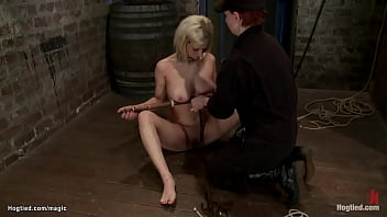 Blond Gets Crotch Rope And Fist