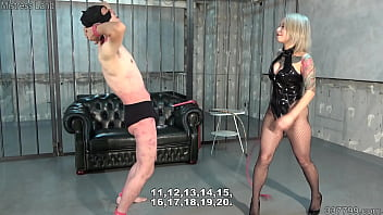 Japanese dominatrix whips him with full swing and tramples nuts