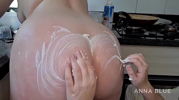 Chantilly Cream spread on the ass to make her pussy tastier 6 min
