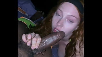 Slutty Redhead Gets Pounded and Creampied by BBC On Beach