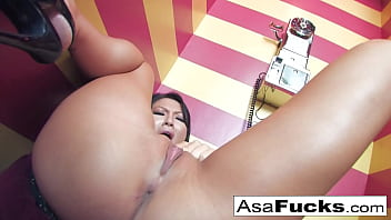 Asa Akira gets hot and horny on the phone