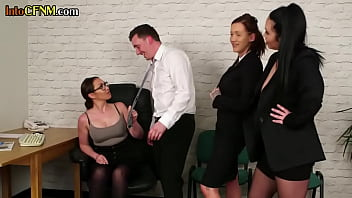 Strict British Femdoms Sucking Submissive Bf In Group