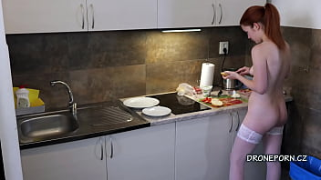 Naked Cooking and sweet ginger teen