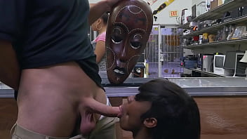 XXX PAWN - Lexxi Deep Rides White Big Cock While Wearing Wooden African Mask