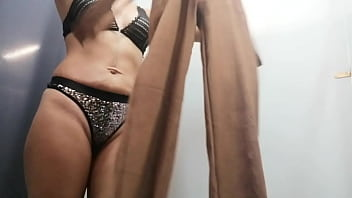 Dressing room Russian woman with big boobs and nipples change clothes Sexy panties