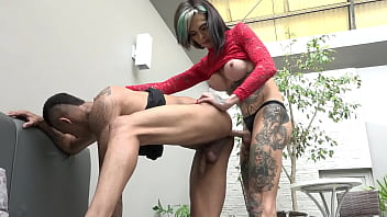 Skinny transvestite punched the balls at her friend from the gym - Gaby Ink