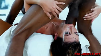 Adriana Chechik grips the studs thighs as he drills her tonsils from above