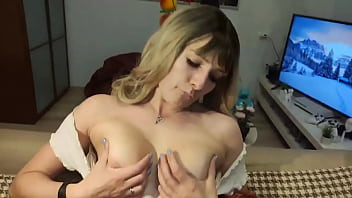 Seductive beauty caresses her pussy