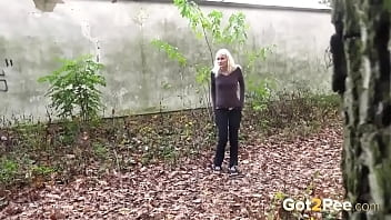Blonde Jogger Relieves Herself In Leaves