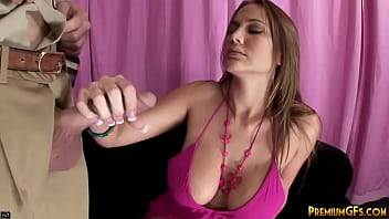 Femdom babe jerks off and slaps mature dick