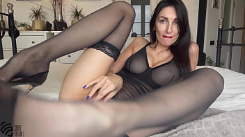 Hot brunette fucks herself with a dildo and gets an orgasm