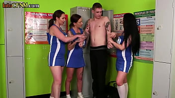Uniformed cfnm dommes wanking worthless sub in group