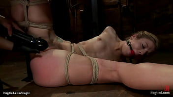 Bent over tied blonde lesbian whipped