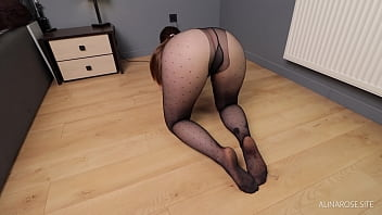 Rubbed on pussy and cum in her pantyhose then put them on - Alina Rose