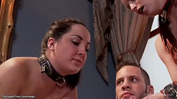 Brunette slave ass fucked in threesome