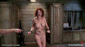 Ginger in inverted suspension fucked