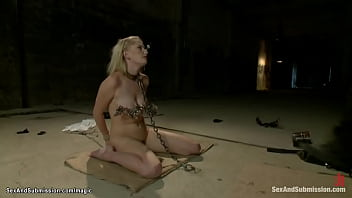 Clamped Nose Blond Fucked In Mouth