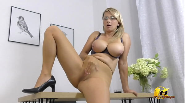 Busty MILF in Office Glasses Pantyhose and HighHeels