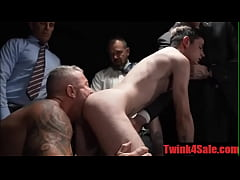 Hairless slave gangbang by a group of horny Mas...