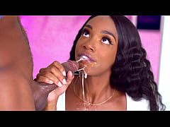 Hot black teen gives a sloppy BJ to her black step brother - ebony porn